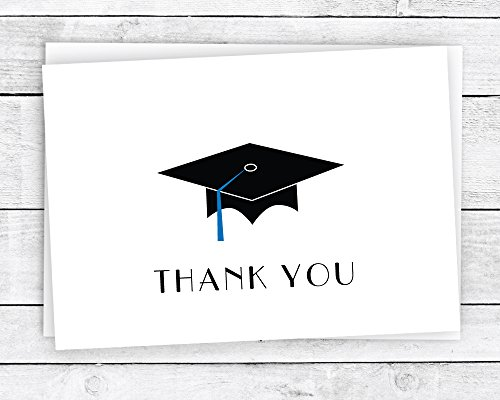 Graduation Cap with Colored Tassel Thank You Cards - 24 Cards & Envelopes (Blue)