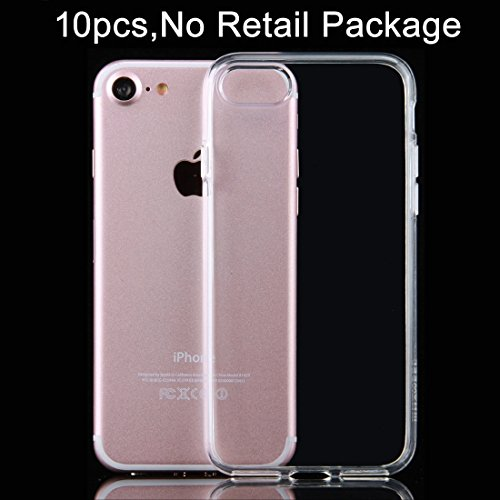 Mobile protection 10 PCS HAWEEL para el iPhone 7 Caja protectora suave TPU transparente ( Color : Black ) Transparent