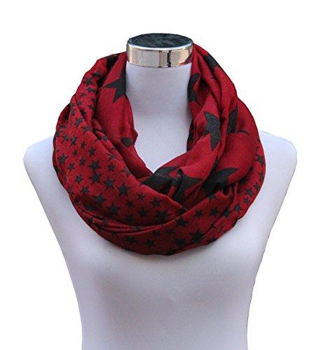 Leaf Red (Lucky Leaf Women Girls Fashion Lightweight Soft Chiffon Scarf Wrap Infinity Loop Scarves (1-Burgundy Stars))