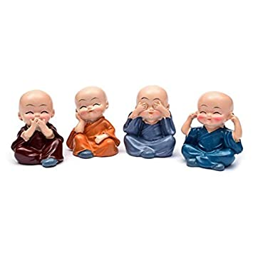 perg Transferencia 4pcs Little Monk Nette Decoració n Ornament Portable Regalo para Car Interior Home Habitaciones, A PerGrate