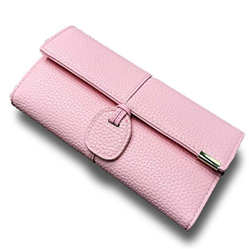 Card Holder Wallet Girl Clutches Luxury Casual Buckle Lady Wallet Cash Money Bag (Color - Pink)