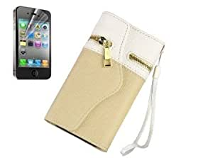 Cerhinu Two Color Folding Synthetic Leather Purse Card Wallet Case + Screen Protectofor iPhone 5