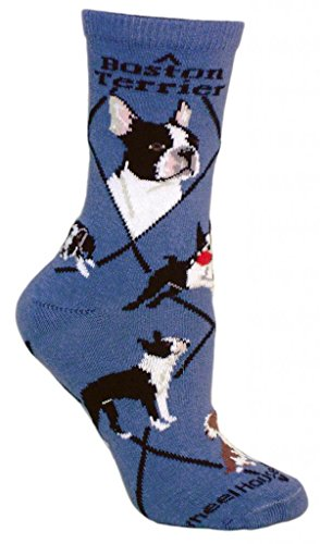 Boston Terrier Dog Blue Cotton Ladies Size 9-11 Socks