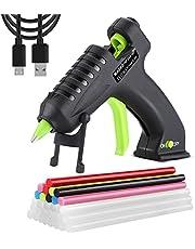 WADEO Cordless Hot Glue Gun, Melt Glue Gun, USB Rechargeable Portable Mini Melt Glue Gun Kit with 30pcs Glue Sticks, 2000mAh Lithium Mini Cordless Glue Gun for Kids DIY Arts, Crafts, Decorations, Projects and Fast Home Repairs