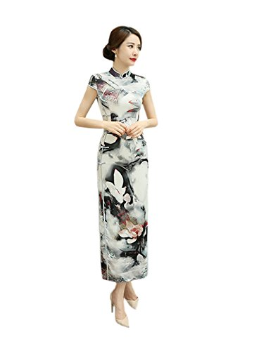 Color chino flor Gorgeous la para Woman 2 Qipao vestido Acvip tradicional noche verano Cheongsam impresa Maxi 6EFxCq1