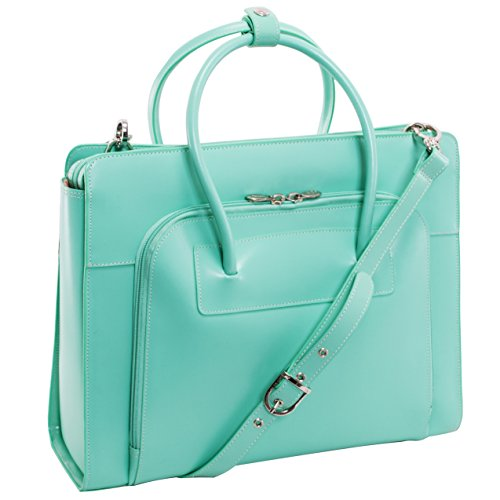 Bright Modern Solid Design Carry On Stylish Foldable Laptop Tablet Tote, Softsided Elegant Pastel Pattern, Multi Compartment, Fashionable, Checkpoint Friendly Soft Travel Wander Bag, Mint, Size 15.4'' by S & E