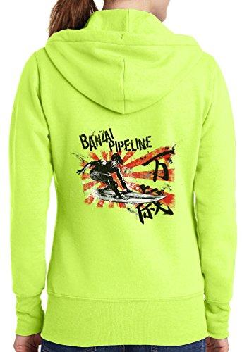 Womens Banzai Surf Full Zip Hoodie, Neon Yellow, 4X