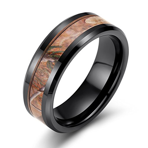8mm Black Ceramic Ring Forest Floor Foliage Camo Pattern Inlay Wedding Band for Men His - Military Grade Titanium