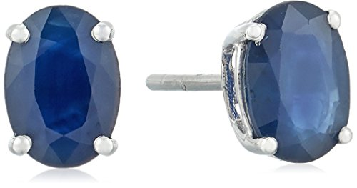 10k White Gold Genuine Blue Sapphire Oval Stud - Sapphire Gem Genuine Blue Oval