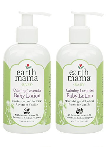 Earth Mama Calming Lavender Baby Lotion with Organic Calendula, 8-Fluid Ounce (2-Pack)