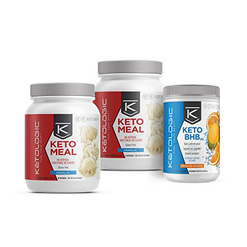 KetoLogic Keto 30 – 30-Day Bundle – Suppresses Appetite/Promotes Weight Loss/Increases Energy/Low Carb – Vanilla Meal Replacement MCT Shake and Orange-Mango BHB Salts