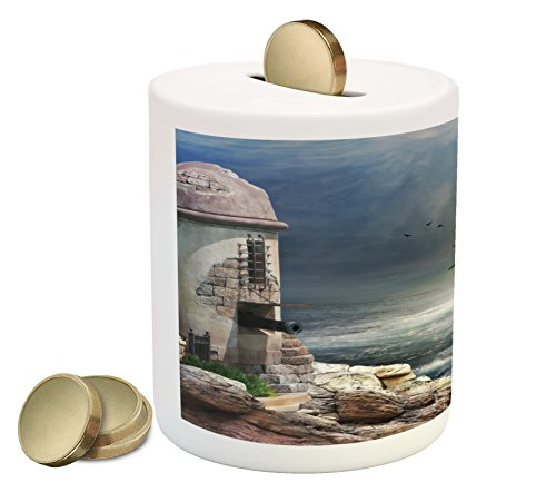 Sailboat Piggy Bank By Ambesonne  A Pirate Merchant Ship Anchored In The Bay Of Fort Abandoned Rocks At Shore  Printed Ceramic Coin Bank Money Box For Cash Saving  Pale Muave Beige