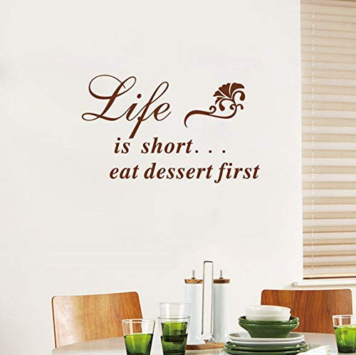 Gabriel Bloor Life is Short.Eat Dessert First Kitchen Quote Vinyl Wall Decal Stickers for Restaurant Decor 76x46cm