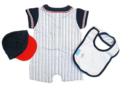 Baby Grand Newborn Baby Daddy's Lil Slugger Baseball 3 Piece Romper Set