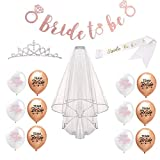 Bachelorette Party Decorations Kit, Kicpot 16 Pack Bridal Shower Supplies Bride to Be Sash + Crown Tiara + Bride To Be Banner + Veil + Team Bride Balloons