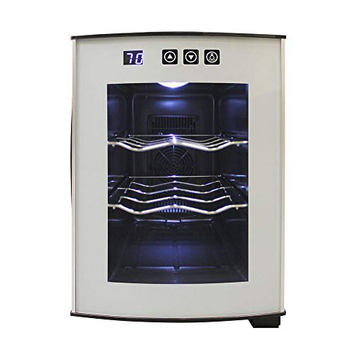 Vinotemp 6 Bottle - Vinotemp International 6 Bottle thermoelectric wine cooler with rounded glass door, silver body.3a