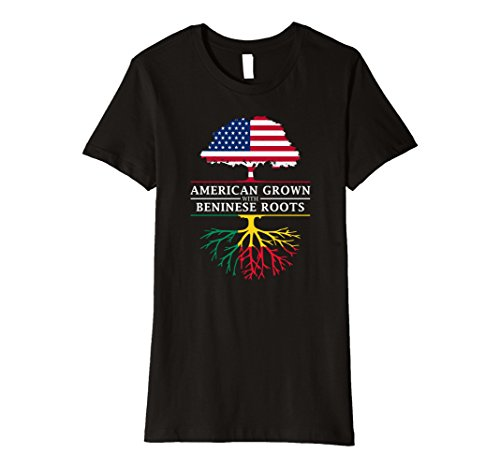 Womens American Grown with Beninese Roots T-Shirt - Benin Shirt Large Black