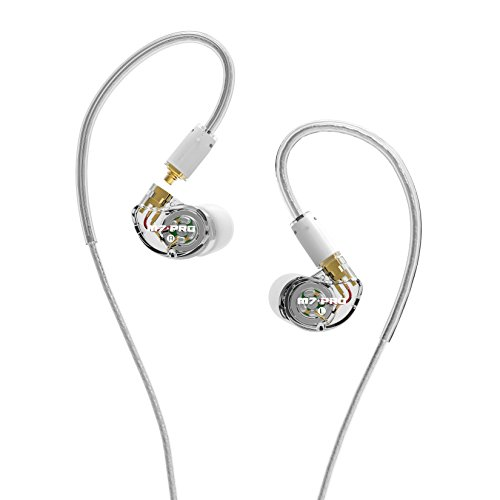 MEE audio M7 PRO Universal-Fit Hybrid Dual-Driver Musicians in-Ear Monitors with Detachable Cables (Clear)
