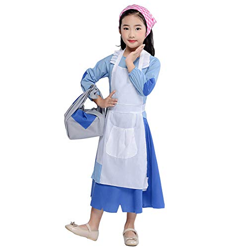 Poor Colonial Girl Child Costume Pioneer Pilgrim Maid Dress Accessories Outfit (Blue, XXL)]()