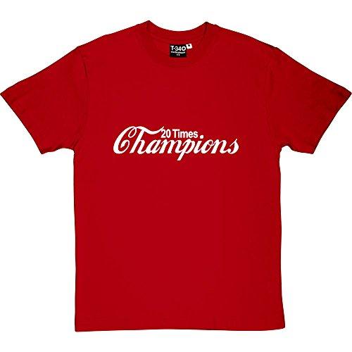 (20 Times Champions Cola Red Men's T-Shirt 5XL (White Print))