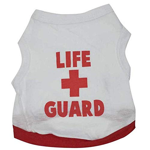 FairOnly 100% Cotton Puppy Dog Vest Life Guard Sleeveless Top Clothes Outdoor Home Leisure T-Shirt Coat Clothing for Small Dogs White -