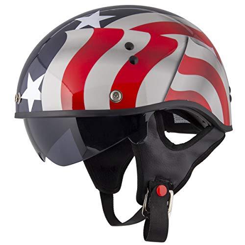 Outlaw T-70 'Blue Flag' American Flag Half Face Helmet with Drop Down Tinted Visor - Multi/X-Large (Helmet Flag Motorcycle)
