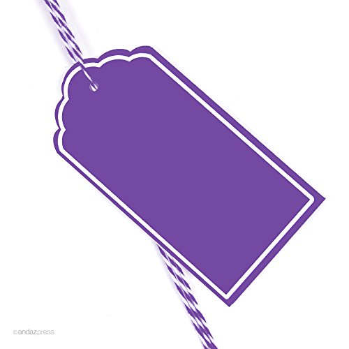 Andaz Press Scallop Gift Tags, Solid, Blank, Purple, 12-Pack