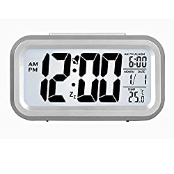 HENSE Smart Backlight Alarm Clock Mute Silent LCD Electronic Travel Clock With Large Display And Big Numbers,Date and Time Display HA11 (silver)