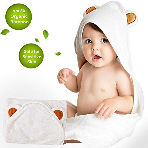 Baby Bath Hooded Towel for Boy Girl Ultra Soft and Super Absorbent Toddler Bath Towel with Hood 100% Organic Bamboo Textile Bath Hooded Towel Great Infant Newborn Shower Present ()