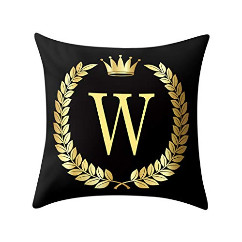Pillow Cover Black and Gold Letter Pillowcase Sofa Cushion Cover Home Decor 45x45cm (W)