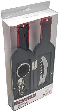 Vinbouquet Regalo de Vino FI 314 Set, Abs, Caucho y SS, Plata, 26x13x3.5 cm, 5 Unidades