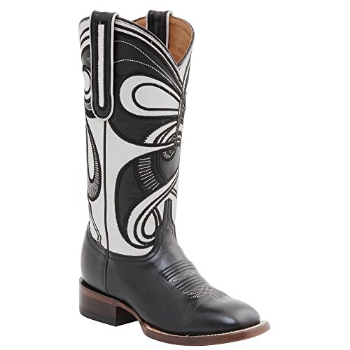 (Lucchese Women's Handcrafted 1883 Hypnotic Swirl Cowgirl Boot Square Toe Black 8.5 M US)