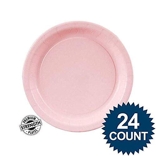 Creative Converting Touch of Color Paper Lunch Plates, 24-Count, Classic Pink