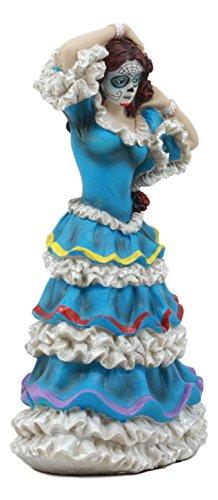 Ebros Dia De Los Muertos Day Of The Dead Traditional Blue Gown Dancer Statue Sugar Skull Vivas Calacas Figurine