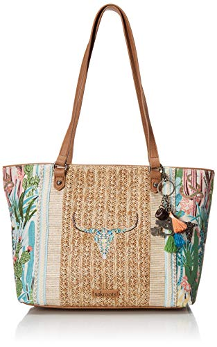 Sakroots Unisex-adults Meadow Medium Tote, Natural Mojave mirage