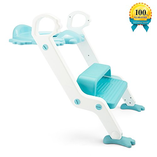 Potty Training Seat, with Step Stool Ladder for Kids and Baby, Non-Slip Kids Toilet Training Seat, Toddlers Potty Ring for Round and Oval Toilets (Blue)