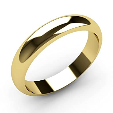 Gold Wedding ring 9ct White D Shape Heavy Weight Band Hallmarked