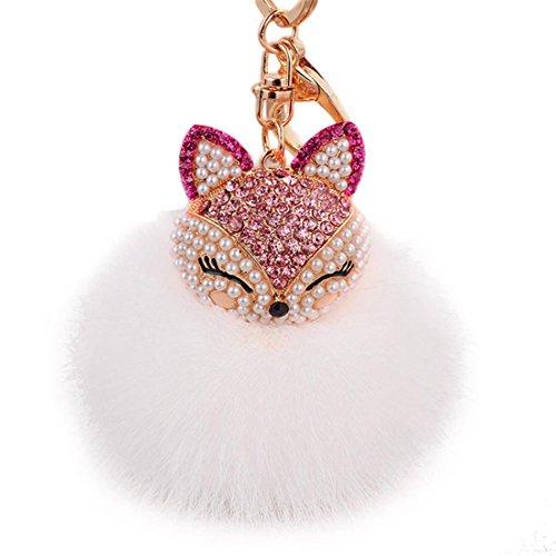 Rhinestone Key Chain,Hemlock Artificial Fox Head Inlay Pearl Key Chain (Hot pink)