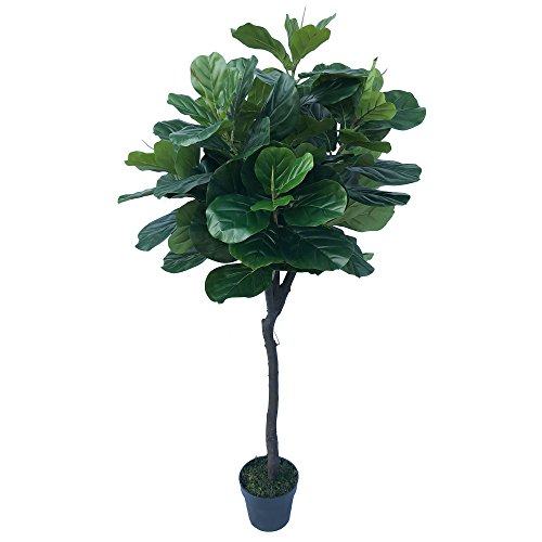 6' Real Touch Fiddle Leaf Fig Silk Tree w/Pot -105 Leaves -Green