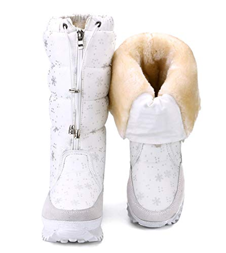 DADAWEN Women's Winter Waterproof Fur Lined Frosty Snow Boots