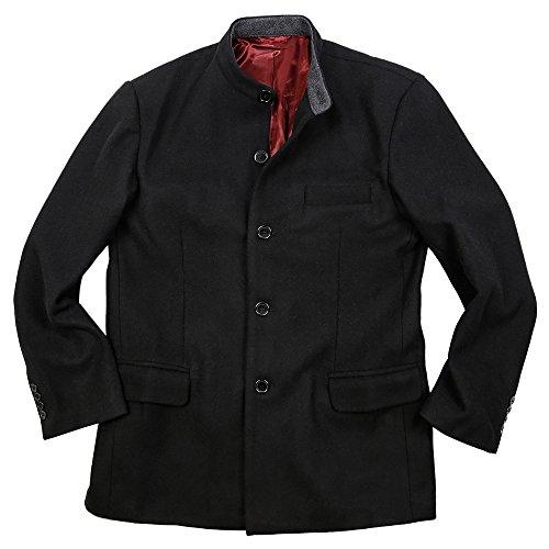 Veste à petit col mao boutonné en laine noir