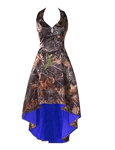 (LEJY Women's Camo Homecoming Dresses Halter Bridesmaid Dresses High Low Beaded Prom Dresses Royal Blue 16)