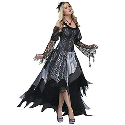 Sijux Adult Women's Halloween Witch Game Witch Plays Uniform Undead Festival Devil Witch Cosplay Costume,Black,L