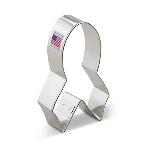 (Ann Clark Pink Cancer Awareness Ribbon Cookie Cutter - 4 Inches - Tin Plated)