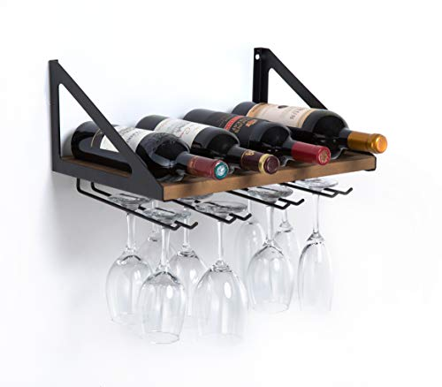 (MK478A - Wall Mount Wine Rack with Glass Holder (Wood))