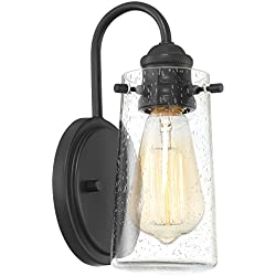 "Kira Home Rayne 9.5"" Modern 1-Light Wall Sconce/Bathroom Light, Seeded Glass + Matte Black Finish"
