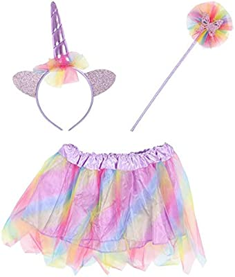 Child Girls Unicorn Tutu Horn On Headband Wand Fancy Dress Costume Accessory Kit