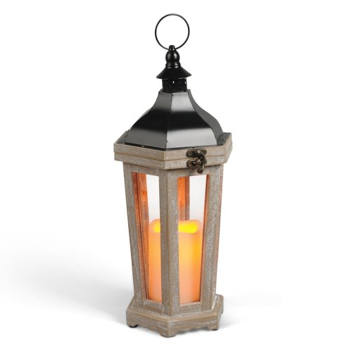 Gerson 15-Inch White Washed Wood and Metal Tapered Lantern with 3 by...