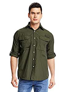 Asfixiado Men Long Sleeve Fishing Shirts,Outdoor Casual UPF 50+ Breathable Quick-Dry for Work Hiking Travel Golf #5022, Mens, 5022 Army Green, XX-Large