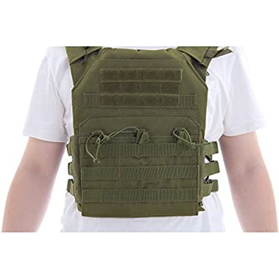 SUN FLOWER TOOLS Tactical CS Field Vest Outdoor Training Airsoft Protective Vest for Adults Adjustable Green